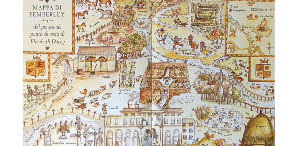 Mappa illustrata delle proprietà di Pemberley, ci sono il cimitero dei cani, la stalla, Lizzy e Darcy sulla porta dell'edificio.
